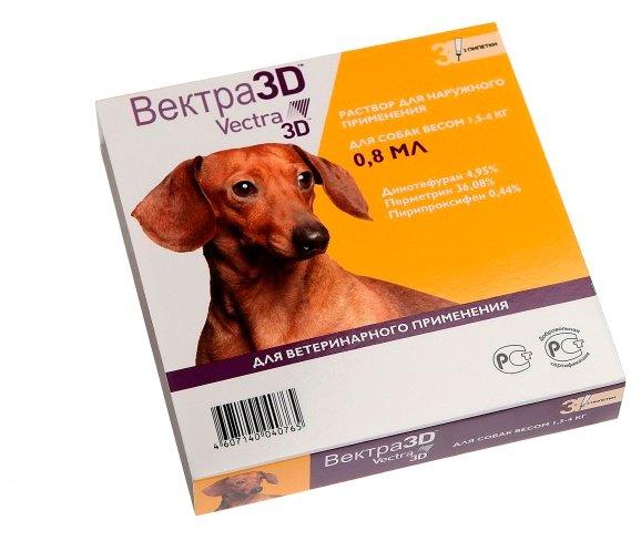 Капли для собак весом 1,5-4 кг Вектра 3D от клещей, блох, власоедов, комаров 1 пипетка?0,8 мл