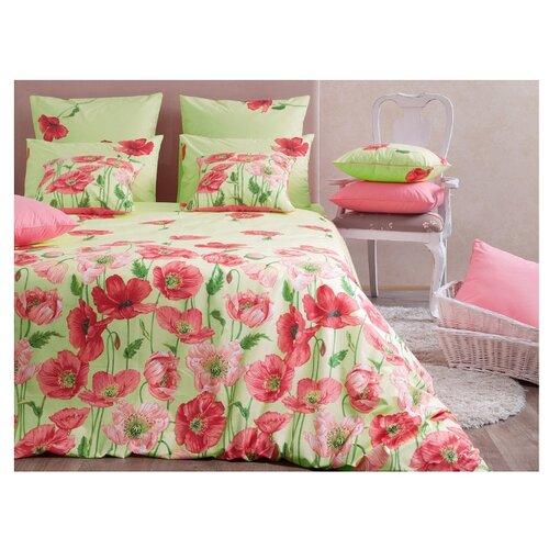 Постельное белье 2-спальное Хлопковый Край Цветочные сны Маки 50 x 70 бязь зеленый/красный