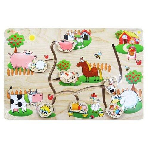 Купить Головоломка Мастер игрушек Лабиринт На ферме (IG0059) бежевый/зеленый, Головоломки