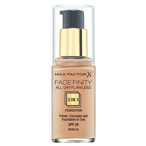 Max Factor Тональный крем Facefinity All Day Flawless 3-in-1, 30 мл, оттенок: 55 Beige max factor colour adapt blushing beige крем тональный 55 тон