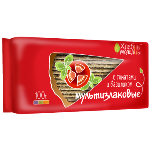 Хлебцы мультизлаковые Хлебцы-молодцы с томатами и базиликом 100 гХлебцы, сухарики<br>
