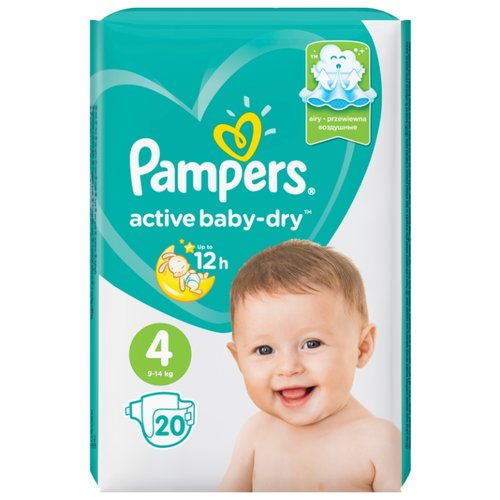 Pampers подгузники Active Baby-Dry 4 (9-14 кг) 20 шт. подгузники pampers active baby dry 5 11 16 кг 60 шт