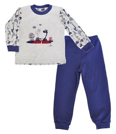 Пижама джемпер/брюки Leo цвет: серый/синий, для мальчиков, размер 116