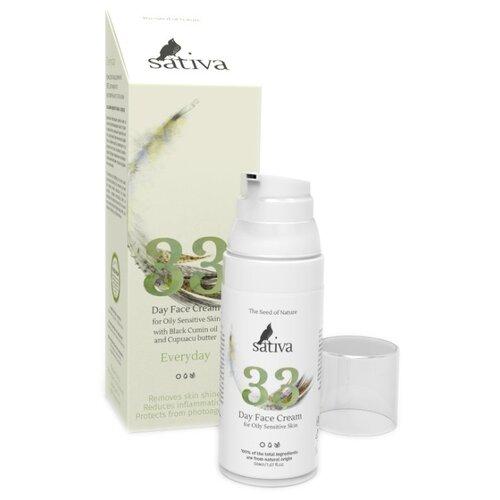 Sativa Everyday №33 Крем для лица дневной для жирного чувствительного типа кожи, 50 мл markell everyday skin care program крем лифтинг для лица дневной орхидея 50 мл