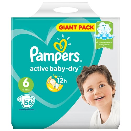Pampers подгузники Active Baby-Dry 6 (13-18 кг) 56 шт. подгузники pampers active baby dry 4 8 14 кг 147 шт