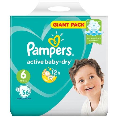 Фото - Pampers подгузники Active Baby-Dry 6 (13-18 кг) 56 шт. pampers подгузники active baby dry 4 9 14 кг 20 шт