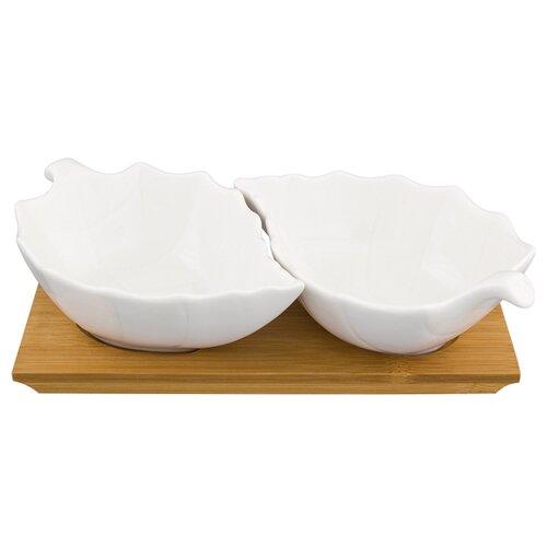 Elan gallery Блюдо сервировочное Лепестки, 2 шт. на подставке белый elan gallery набор тарелок для закуски белый узор 20 5 см 2 шт 540157 белый