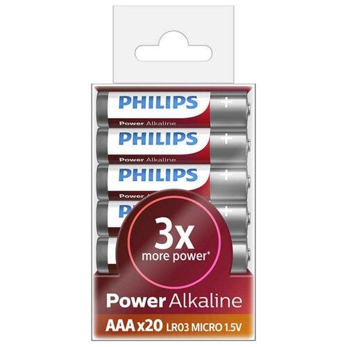 Купить Батарейка Philips Power Alkaline ААА 20 шт блистер