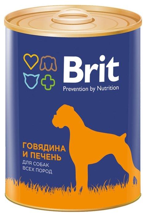 Корм для собак Brit говядина, печень 12шт. х 850г