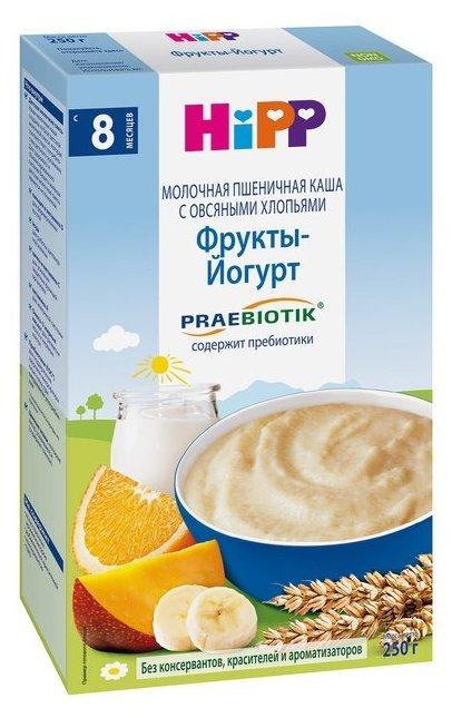 Каша HiPP молочная пшеничная с овсяными хлопьями, фруктами и йогуртом с пребиотиками (с 8 месяцев) 250 г