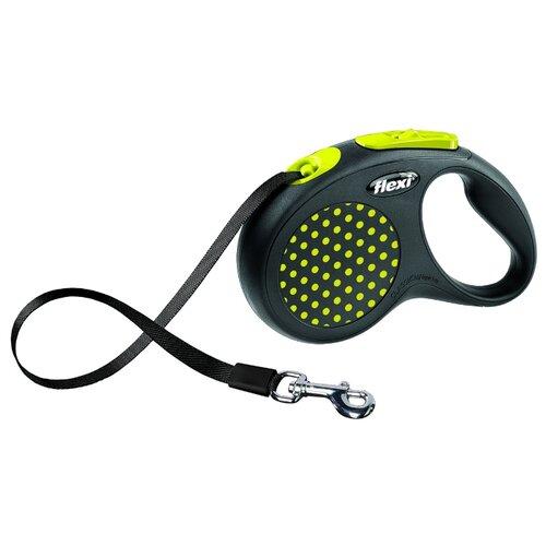 Поводок-рулетка для собак Flexi Design S ленточный черный/желтый 5 мПоводки для собак<br>