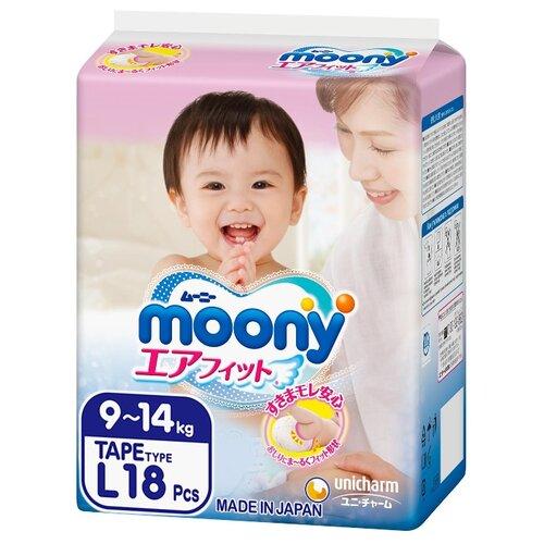 Moony подгузники L (9-14 кг) 18 шт.