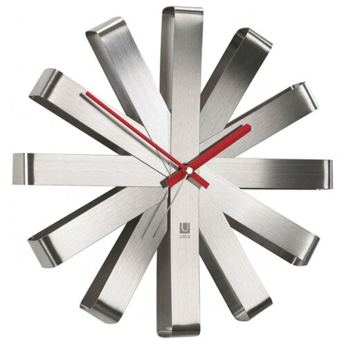 Часы настенные кварцевые Umbra Ribbon 118070 сталь часы настенные umbra umbra mp002xu0e7o0