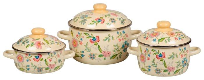 Набор кастрюль 3 предмета СтальЭмаль Луговые цветы №07 (3КА071М)