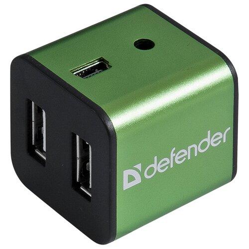 USB-концентратор Defender Quadro Iron (83506), разъемов: 4, зеленый