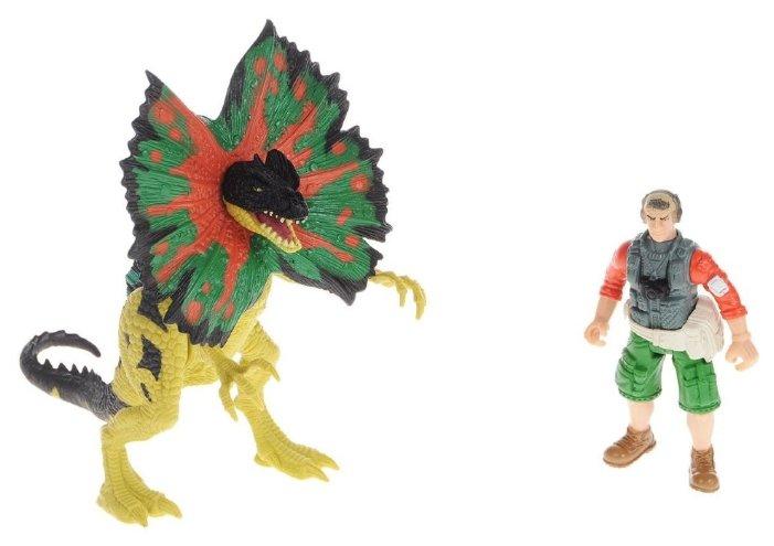 Игровой набор Chap Mei Dino Valley - Дилофозавр и охотник со снаряжением 520151-1