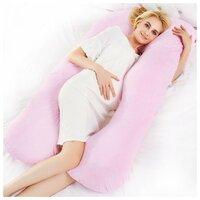 Подушка БиоСон U Premium 340х35 лебяжий пух, наволочка из сатина светло-розовый