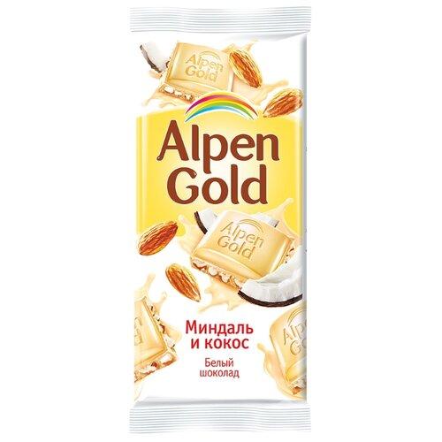 Шоколад Alpen Gold Миндаль и кокос белый с миндалём и кокосовой стружкой, 90 г rich шоколад молочный с кокосовой стружкой 70 г