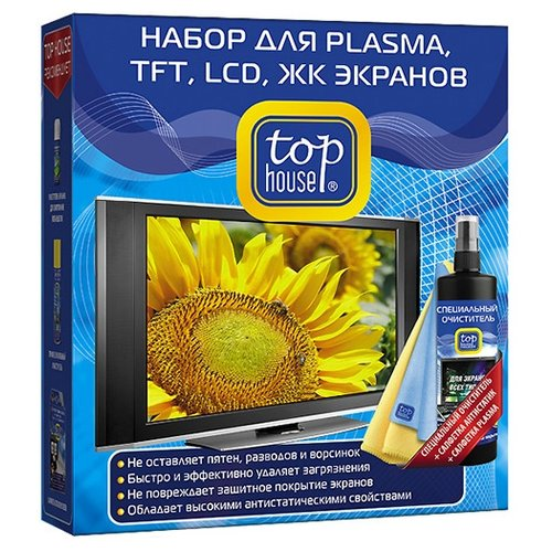 Фото - Набор Top House для PLASMA, TFT, LCD и ЖК экранов (3 предмета) чистящий спрей+сухие салфетки для экрана jaragar sport fashion design mens watches top brand luxury automatic watch triangle 3 dial display genuine leather strap clock