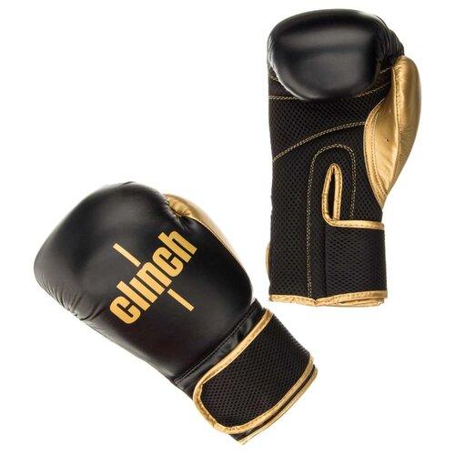 Боксерские перчатки Clinch Aero черный/золотой 8 ozБоксерские<br>