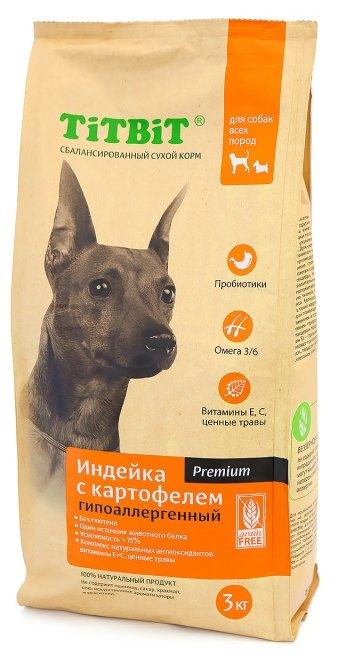 Корм для собак Titbit (3 кг) Для собак всех пород гипоаллергенный с индейкой и картофелем