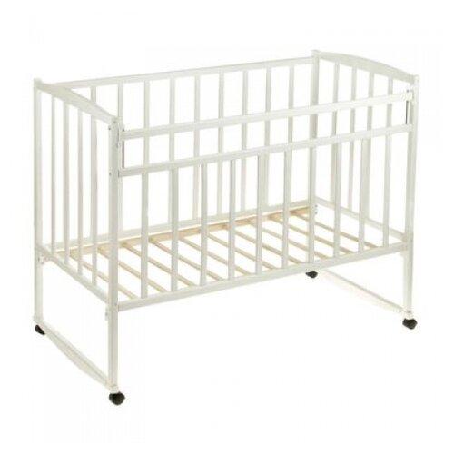 Кроватка Волжская деревообрабатывающая компания Кр1-02м (качалка), на полозьях белый