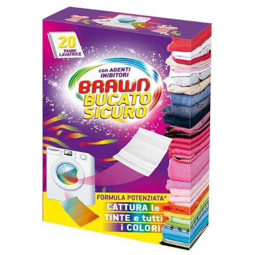 BRAWN салфетки для стирки цветных и белых вещей, картонная пачка, 20 шт