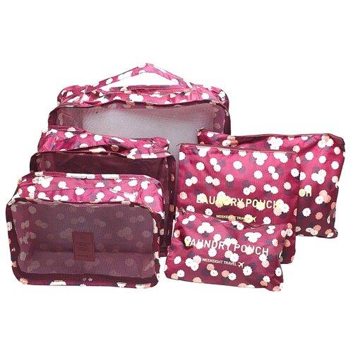 HOMSU Комплект из 6 органайзеров для багажа Бордовый Цветок бордовый