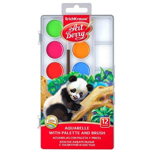 ErichKrause Акварельные краски ArtBerry 12 цветов с УФ защитой яркости, с кистью и палитрой (41726) erich krause краски акварельные art berry с палитрой и кистью 12 цветов