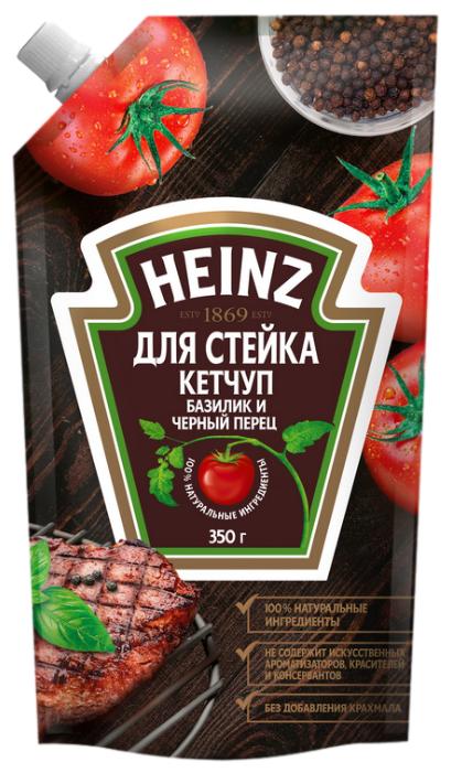 Кетчуп Heinz Для стейка с базиликом и черным перцем, дой-пак