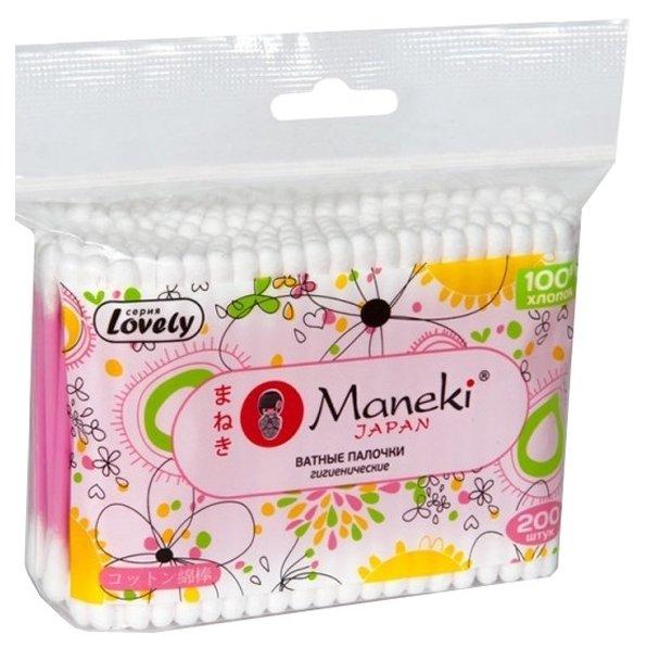Ватные палочки Maneki Lovely с розовым пластиковым стиком (CB920)