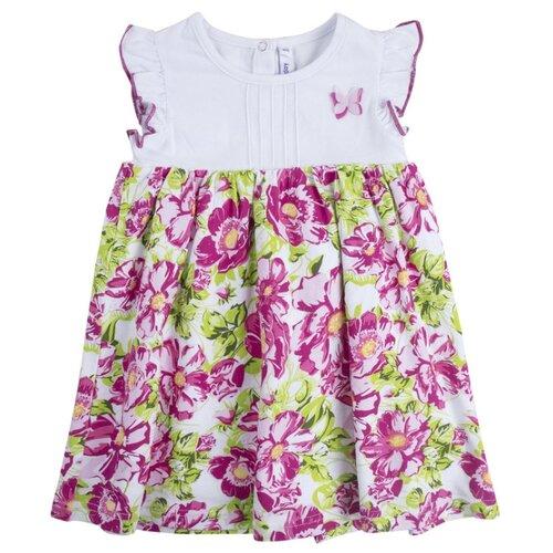 Платье playToday размер 86, белый/розовый/светло-зеленый