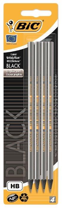 BIC Набор чернографитных карандашей Evolution Black 4 шт (896016)