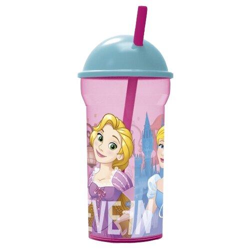 Stor Стакан с соломинкой и крышкой-полусферой 460 мл Принцессы Дружные приключения товары для праздника смурфики стакан бумажный приключения смурфиков 210 мл