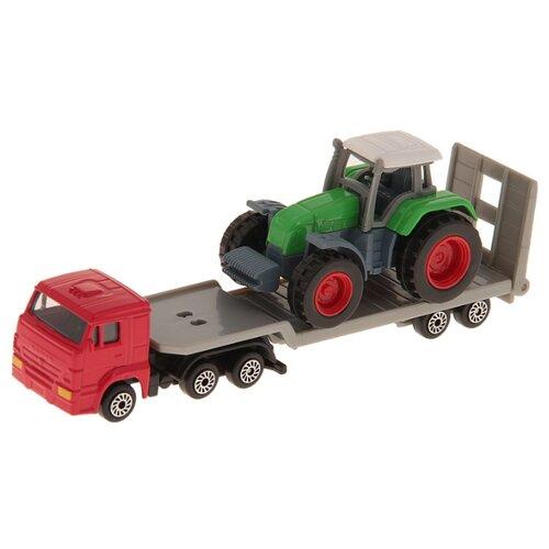 Купить Набор техники ТЕХНОПАРК КамАЗ Автотранспортер с трактором (SB-16-36) зеленый/красный/серый, Машинки и техника