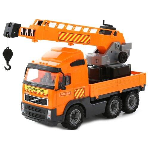 Купить Автокран Полесье с поворотной платформой Volvo (8824) 73 см оранжевый, Машинки и техника