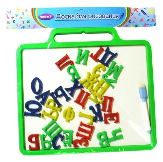 Доска для рисования детская Amico магнитная с русскими буквами (41811)