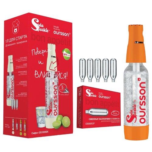 Сифон для газирования воды + баллоны Oursson OS1000SK 6 шт. оранжевый