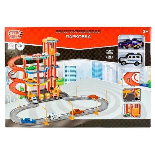 Купить ТЕХНОПАРК Парковка P4788A-3R голубой/красный/оранжевый/желтый/серый, Детские парковки и гаражи