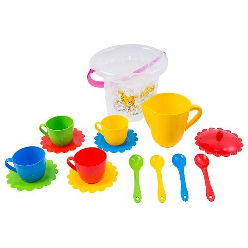 Купить Набор посуды Тигрес Ромашка 39121 красный / желтый / зеленый / синий, Игрушечная еда и посуда