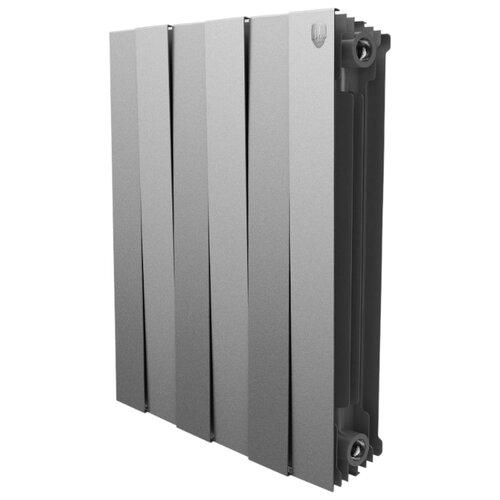 Радиатор секционный биметаллический Royal Thermo PianoForte 500 x4 теплоотдача 492 Вт, 4 секций, подключение универсальное боковое Silver Satin