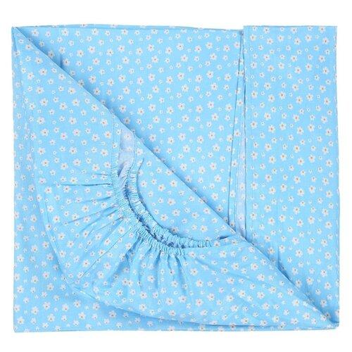 Купить Sonia Kids простыня на резинке 90х150 см Цветочки бирюзовый, Постельное белье и комплекты