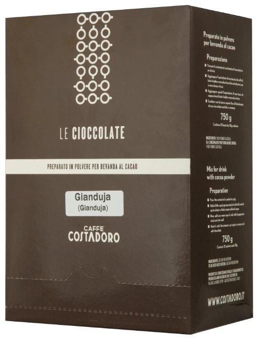 Costadoro Le Cioccolate Gianduja Chocolate Горячий шоколад растворимый Орех в пакетиках, 25 шт.