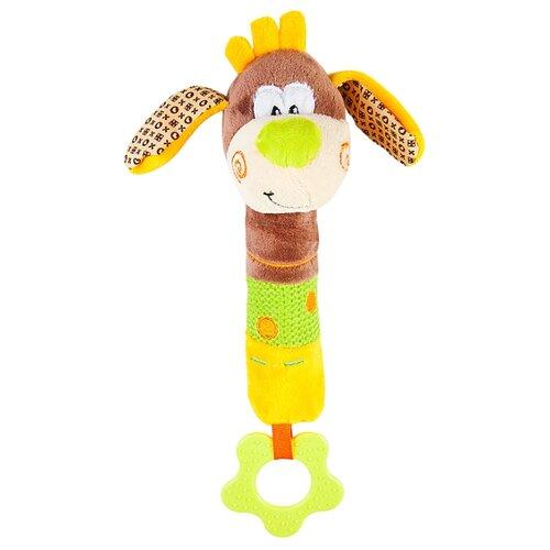 Купить Прорезыватель-погремушка Жирафики Пёсик Том 939317 коричневый/оранжевый/зеленый, Погремушки и прорезыватели