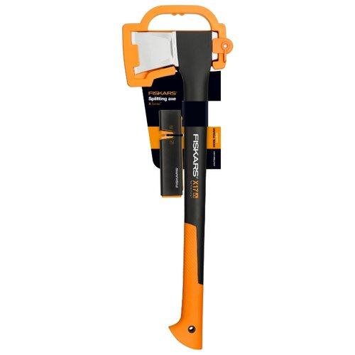 Фото - Колун FISKARS Х17 + точилка 1020182 черный/оранжевый топор колун fiskars х17 1570гр фиберглассовая ручка точилка