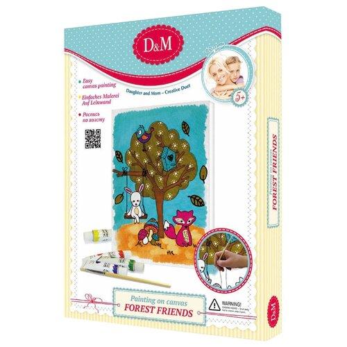 Купить D&M Картина по контурам Лесные друзья 18х24 см (60817), Картины по номерам и контурам