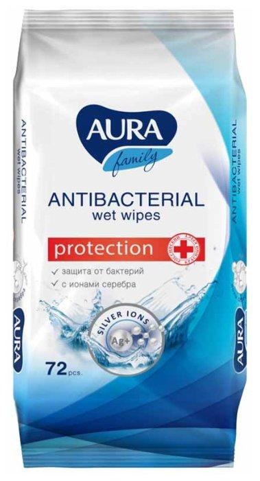 Влажные салфетки Aura Family антибактериальные 72 шт.
