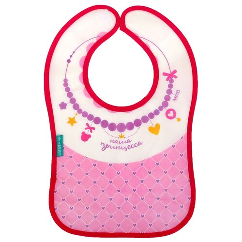 Купить Mum&Baby Нагрудник Джентельмен/Любимая дочка/Принцесса/Папина гордость/Лучший сын/Наша принцесса/Модник, 1 шт., расцветка: наша принцесса/розовый/белый/сиреневый, Нагрудники и слюнявчики