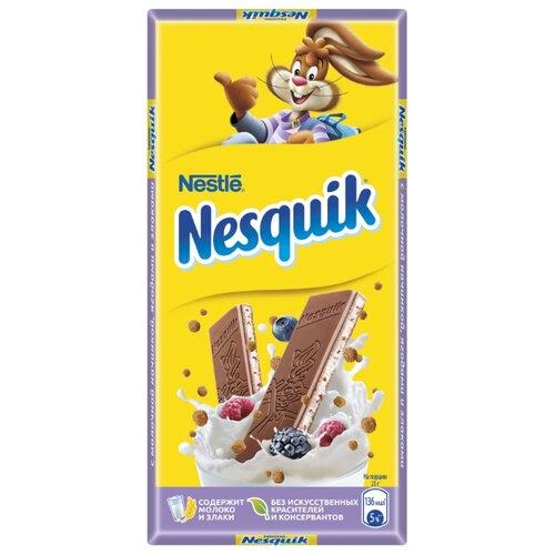 Шоколад Nesquik молочный с молочной начинкой, ягодами и злаками, 100 г