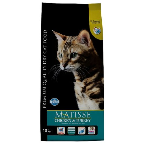Корм для кошек Farmina Matisse с курицей, с индейкой 10 кг корм консервированный для кошек farmina matisse мусс с ягненком 85 г